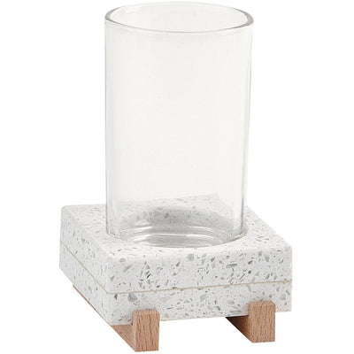 Quartz White Bathroom Standing Toothpaste Tumbler With Drinking Glass, Terrazzo - AGM Home Store LLC