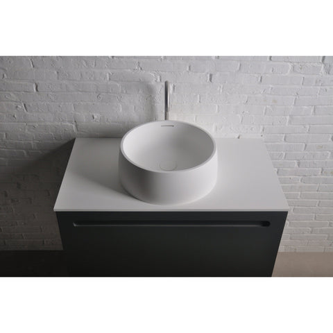 Solidquod Round 17 in. Surface Vessel Sink Bowl Above Counter Sink Lavatory for Vanity Cabinet - AGM Home Store LLC