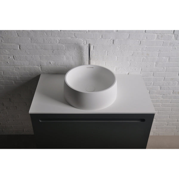 Ideavit Quod Round Solid Surface Vessel Sink Bowl Above Counter Sink