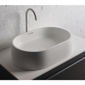 Ideavit Quod Oval  Solid Surface Vessel Sink Bowl Above Counter Sink Lavatory for Vanity Cabinet - AGM Home Store LLC