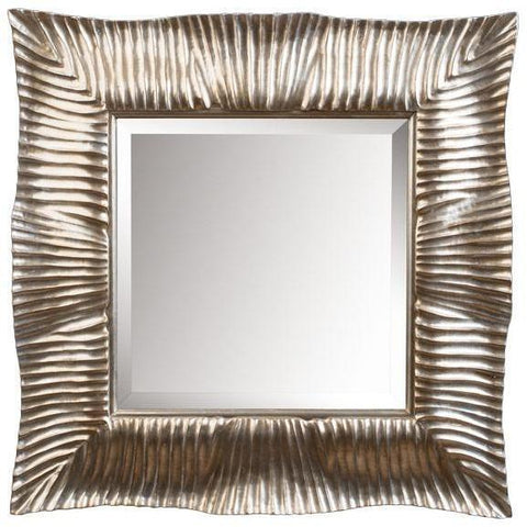 GM Luxury Qatar Square Decorative Wall Art Hand Carved Mirror, Antique Silver Leaf 29.5x29.5 - AGM Home Store LLC