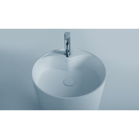 Ideavit roll Round Pedestal Stand Washbasin Solid Surface 18 in. - AGM Home Store LLC