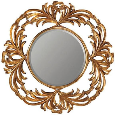GM Luxury Raphael Round Decorative Wall Art Hand Carved Mirror Antique Gold Leaf - AGM Home Store LLC