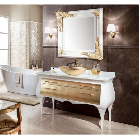 "GM Luxury Rialto 55.5"" Master Bathroom Vanity Gold Leaf Cabinet With Vessel Sink - AGM Home Store LLC"