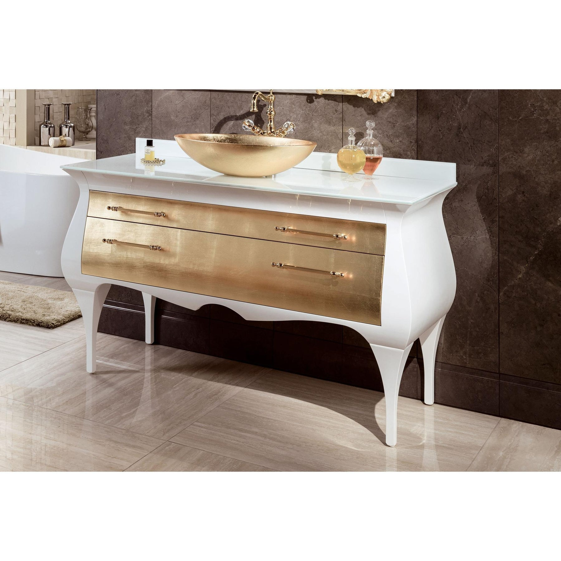 Gm Luxury Rialto 55 5 Master Bathroom Vanity Gold Leaf Cabinet With Vessel Sink Gm Luxury Bath Collection Bathroom Vanities And Sink Consoles 13000 00 14000 00 2 Drawers 54 To 60 Inches Above