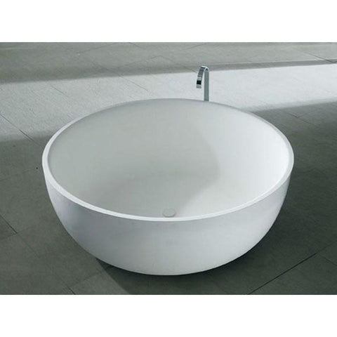Solidround Round 53 in. Freestanding Bathtub in White Matte Solid Surface PS-Ideavit 278613 - AGM Home Store LLC