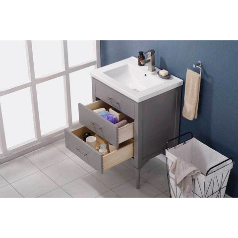 "Design Element Mason 24"" Single Sink Vanity In Gray, S01-24-GY - AGM Home Store LLC"