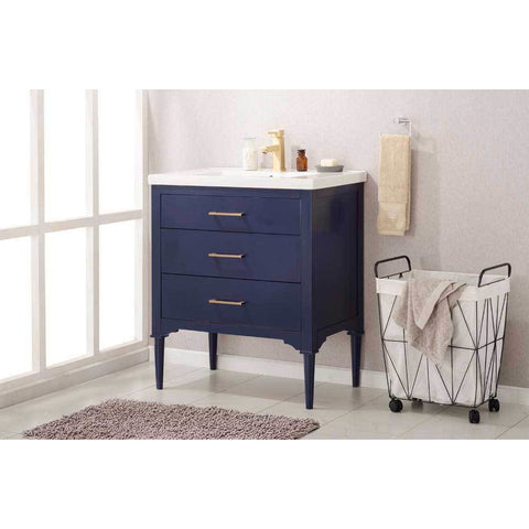 "Design Element Mason 30"" Single Sink Vanity In Blue, S01-30-BLU - AGM Home Store LLC"