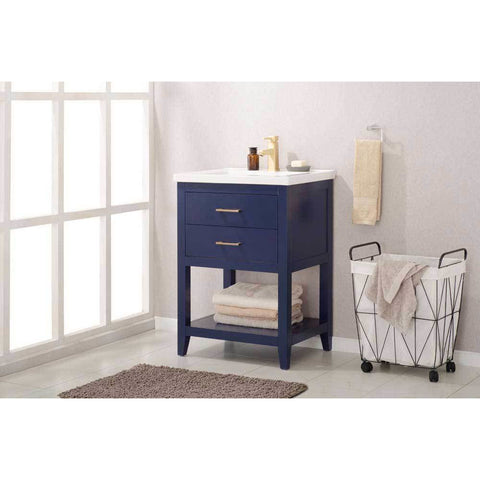 "Design Element Cara 24"" Single Sink Vanity In Blue, S02-24-BLU - AGM Home Store LLC"