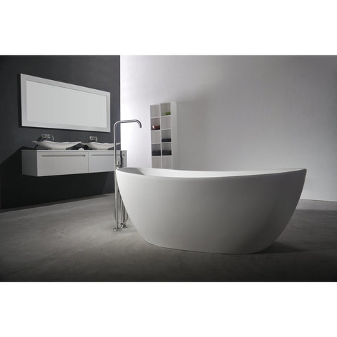 Ideavit Solidseal Elongated Freestanding Bathtub in White Matte Solid Surface PS-ID278614