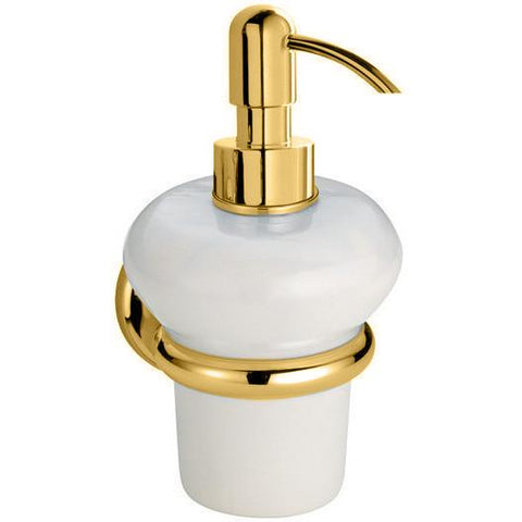 BA Shire Wall Mounted Ceramic Pump Soap Lotion Dispenser Bath or Kitchen - Brass - AGM Home Store LLC