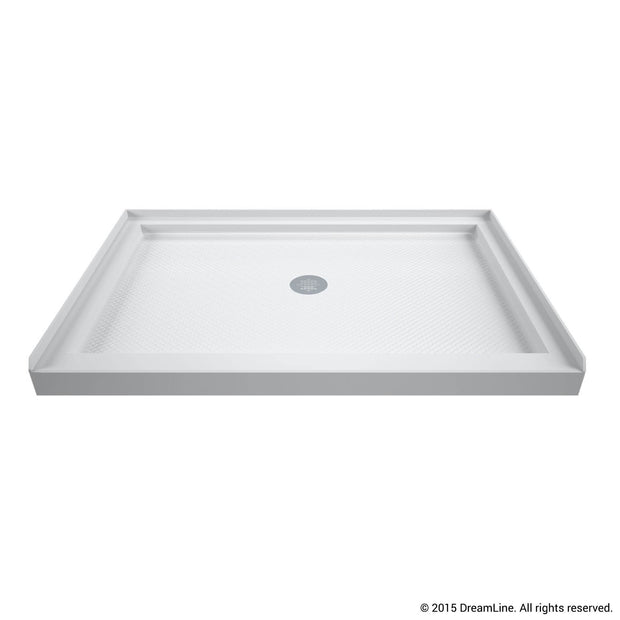 SlimLine 34 in. D x 48 in. W x 2 3/4 in. H Center Drain Single Threshold Shower Base in White - AGM Home Store LLC