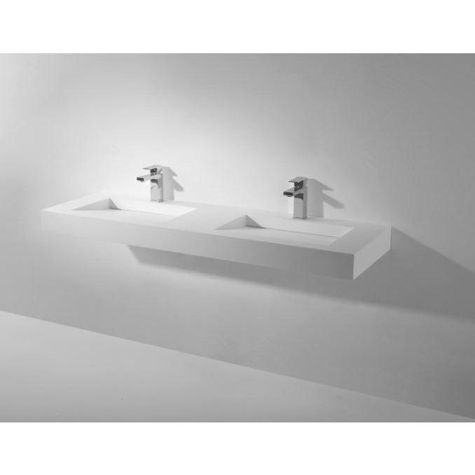 "Ideavit 59"" Wall Mounted Double Sink Bathroom Vanity, White Solid Surface - AGM Home Store LLC"
