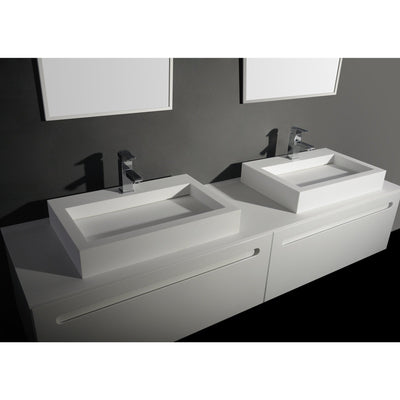 Ideavit Rectangular  Solid Surface Vessel Sink Bowl Above Counter Sink Lavatory for Vanity Cabinet - AGM Home Store LLC
