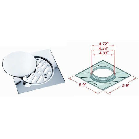 "ME Steel Aisi 304 Shower Floor Drain 5.9""x5.9"" Removable Cover Polished Chrome - AGM Home Store LLC"