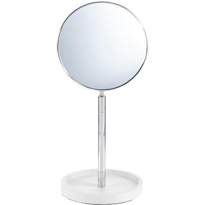 DWBA Stone Round White Double-Sided Cosmetic 4x Magnifying Table Makeup Mirror - AGM Home Store LLC