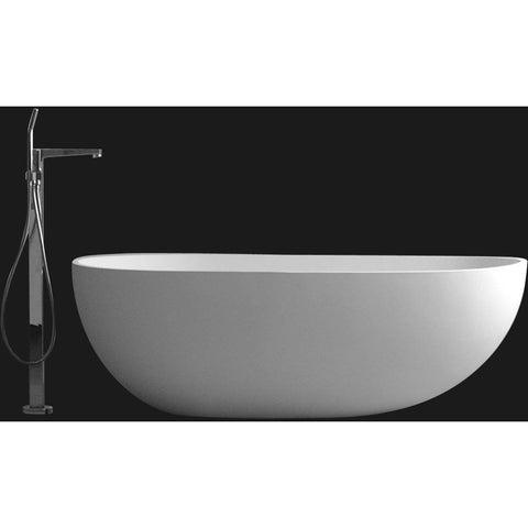 Ideavit Solidsurf Freestanding Bathtub in White Matte Solid Surface