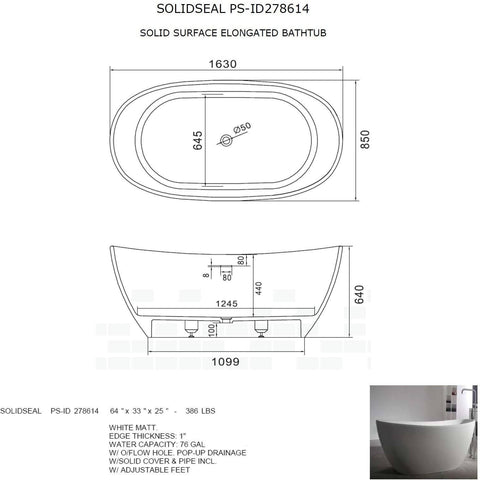 Solidseal 64 x 33 in. Elongated Freestanding Bathtub in White Matte Solid Surface - AGM Home Store LLC