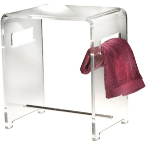 LB Backless Shower Bench Stool Chair Bathroom Shower Seat With Rail, Acrylic - AGM Home Store LLC