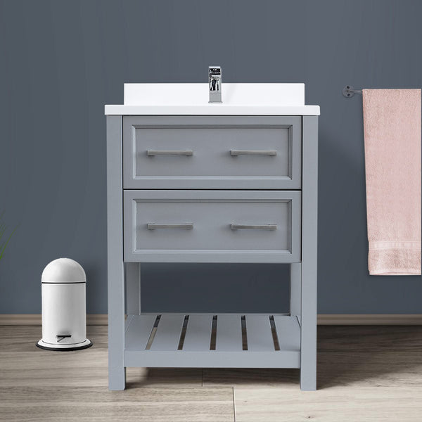 Sherri 25 inch Gray Bathroom Vanity with Cultured Marble Single Basin Top - AGM Home Store LLC