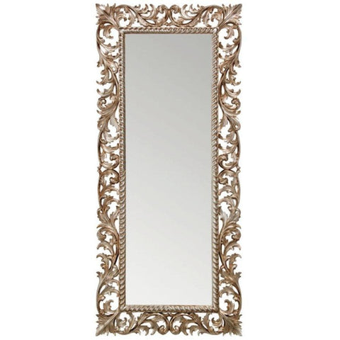 GM Luxury Slovenia Rectangular Full Length Wall Art Hand Carved Mirror Antique Silver Leaf 31.5x71 - AGM Home Store LLC