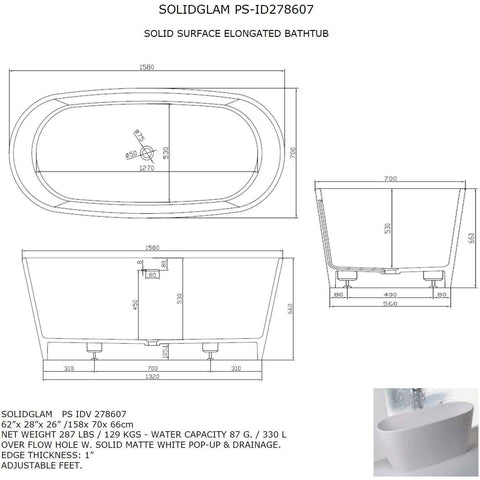 Ideavit Solidglam Elongated Freestanding Bathtub in White Matte Solid Surface PS-ID278607 - AGM Home Store LLC