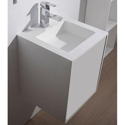 "Ideavit 16"" Small Wall Mounted Single Sink Bathroom Vanity with One Drawer, White Solid Surface - AGM Home Store LLC"