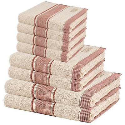 MV 8 Pcs Premium Cotton Towel Set, 2 Bath Towels, 2 Hand Towels and 4 Washcloths - AGM Home Store LLC