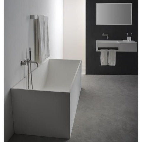 Solidstar Rectangular Freestanding Bathtub in White Matte Solid Surface - AGM Home Store LLC