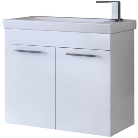 "DP Wall Bath Vanity Cabinet Set 23.6"" Single Sink W/ White Gloss Lacquer Finish"