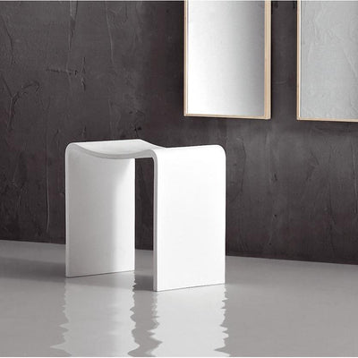 LB Backless Vanity Stool Bench for Bathroom, Bedroom. White Mattstone Seat - AGM Home Store LLC