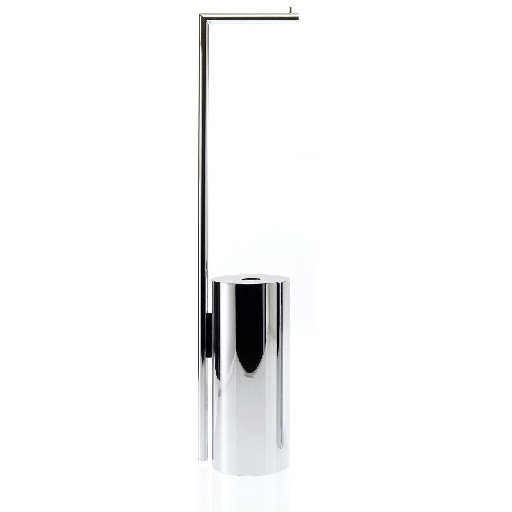 Straight 9 Free Standing Toilet Paper Holder W/ Spare Bin Storage. Chrome - AGM Home Store LLC