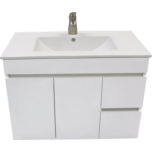 "Strato 32""/ 40"" Wall Bathroom Vanity Cabinet Set Bath Furniture With Single Sink Estepa/ White/ Wenge - AGM Home Store LLC"