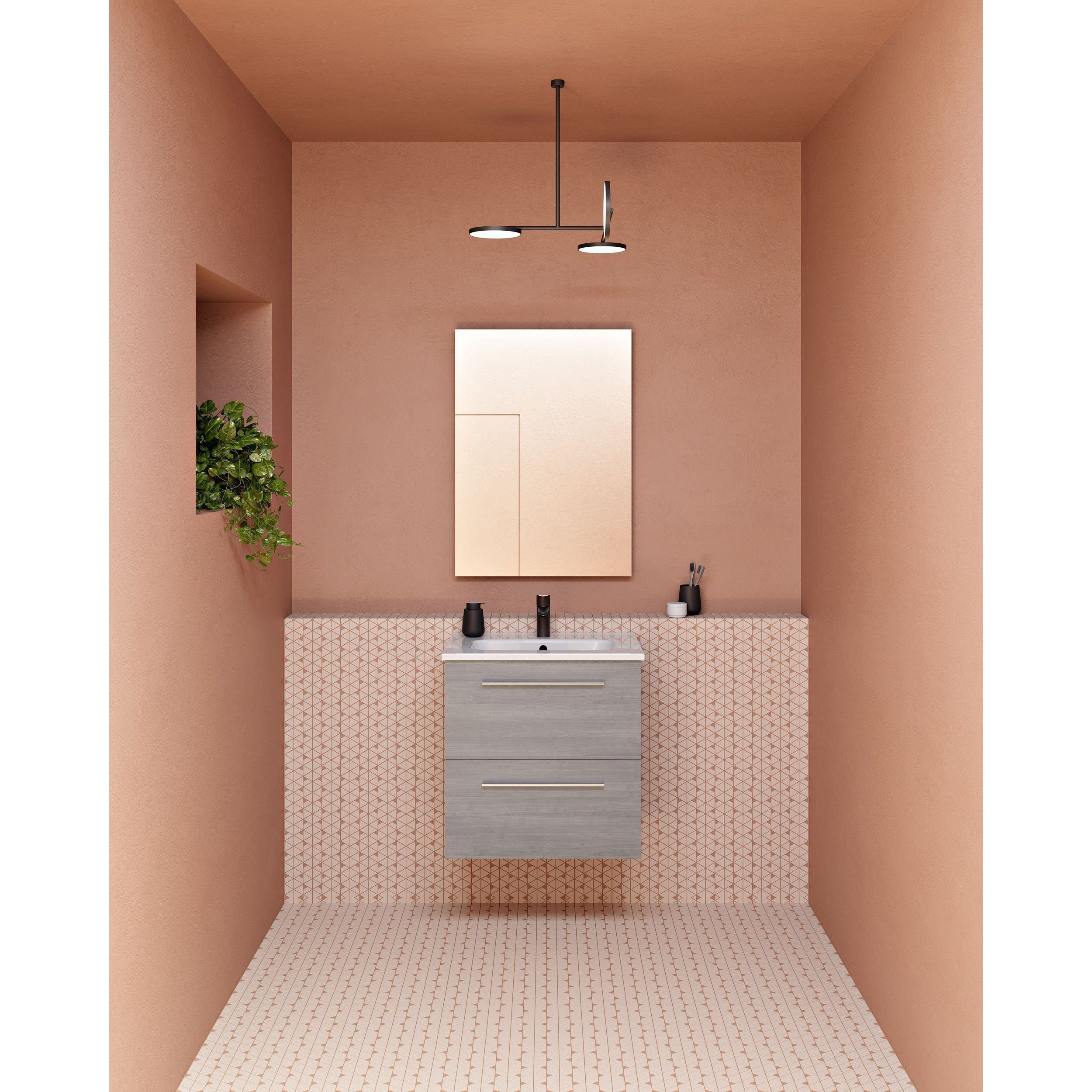 Sku 125487 Item 125487 Brand Royo Street Modern Floating Bath Vanity Set 20 Inches Grey With Basin And Mirror Bathroom Vanities And Sink Consoles Royo Grey 650 00 700 00 Wall Mounted Engineered Wood Ceramic Glass 14 To