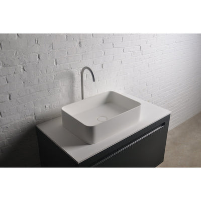Ideavit Thin Rectangular Solid Surface Vessel Sink Bowl Above Counter Sink Lavatory for Vanity Cabinet - AGM Home Store LLC