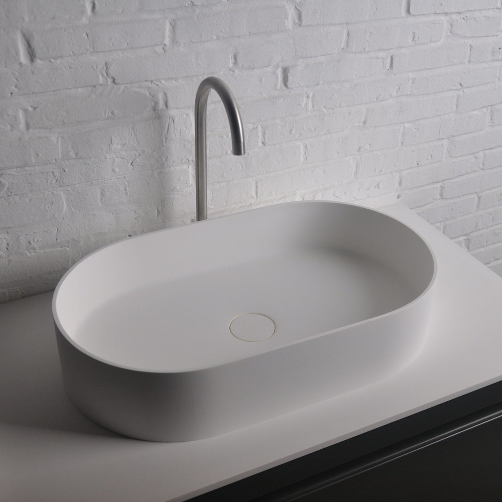 Ideavit Thin Oval Solid Surface Vessel Sink Bowl Above Counter Sink Lavatory for Vanity Cabinet - AGM Home Store LLC