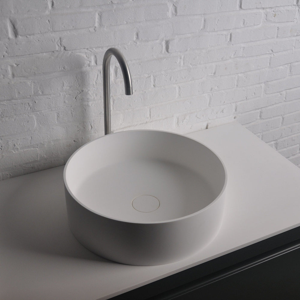Ideavit Thin Round Solid Surface Vessel Sink Bowl Above Counter Sink Lavatory for Vanity Cabinet - AGM Home Store LLC