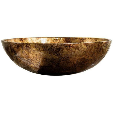 "GM Luxury Round 16"" Glass Vessel Sink Bowl Above Counter Sink Vanity Washbasin - AGM Home Store LLC"