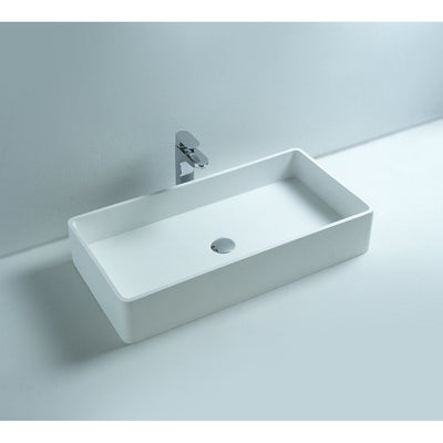 Ideavit Top Rectangular  Solid Surface Vessel Sink Bowl Above Counter Sink Lavatory for Vanity Cabinet - AGM Home Store LLC