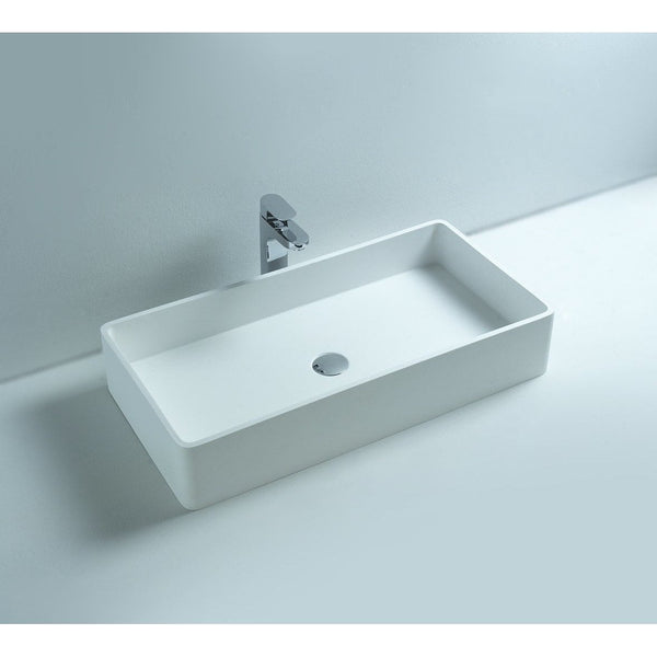 Exceptional Ideavit Top Rectangular Solid Surface Vessel Sink Bowl Above Counter Sink  Lavatory For Vanity Cabinet