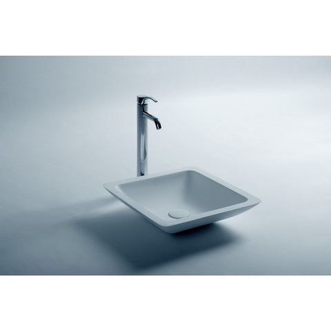 Solidtrend Square 17 in. Surface Vessel Sink Bowl Above Counter Sink Lavatory for Vanity Cabinet - AGM Home Store LLC