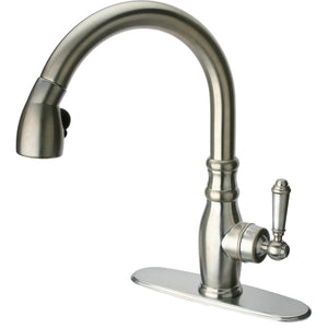 Old-Fashioned single handle pull-down spray kitchen faucet in Brushed Nickel - AGM Home Store LLC