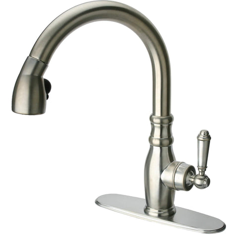 LaToscana Old-Fashioned single handle pull-down spray kitchen faucet in Brushed Nickel - AGM Home Store LLC