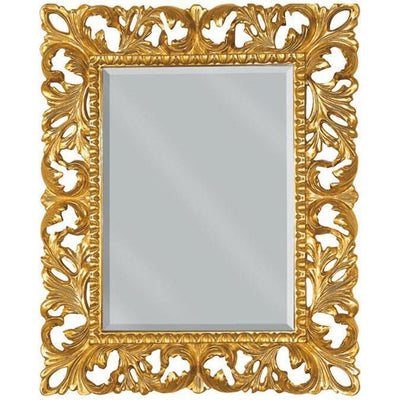 GM Luxury Umbria Rectangular Decorative Wall Art Mirror for Elegan Design, Gold Leaf - AGM Home Store LLC