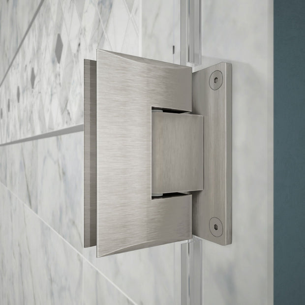 DreamLine Unidoor 34-35 in. W x 72 in. H Frameless Hinged Shower Door in Brushed Nickel - AGM Home Store LLC
