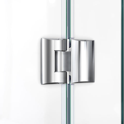 DreamLine Prism Plus 38 in. x 72 in. Frameless Neo-Angle Hinged Shower Enclosure in Brushed Nickel - AGM Home Store LLC