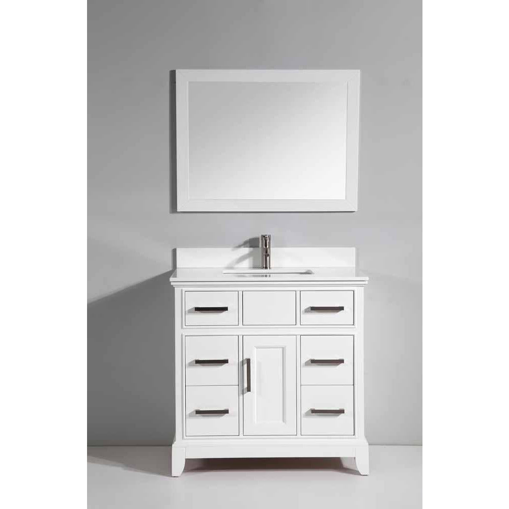 Sku Va1036w Item Va1036w Brand Vanity Art Genoa 36 In W X 22 In D X 36 In H Vanity In White With Single Basin Vanity Top In White Phoenix Stone And
