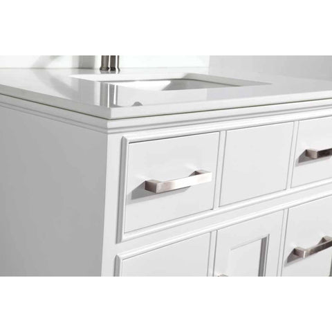 Genoa 36 in. W x 22 in. D x 36 in. H Vanity in White with Single Basin Vanity Top in White Phoenix Stone and Mirror - AGM Home Store LLC