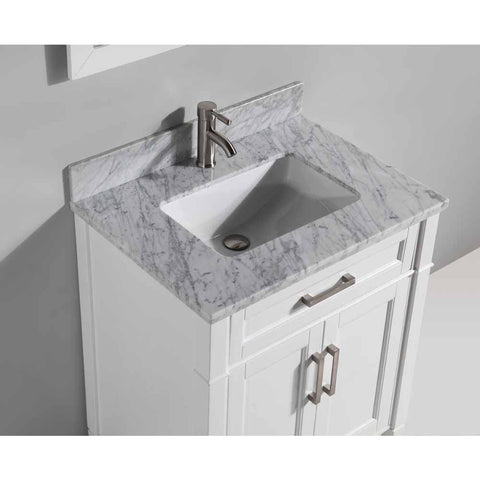 Vanity Art 30 Inch Bathroom Vanity Set with Carrara Marble Stone with Free Mirror VA2030-W - AGM Home Store LLC