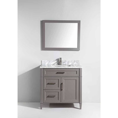 Vanity Art 36 Inch Gray Bathroom Vanity Set with Carrara Marble Stone with Free Mirror VA2036-G - AGM Home Store LLC